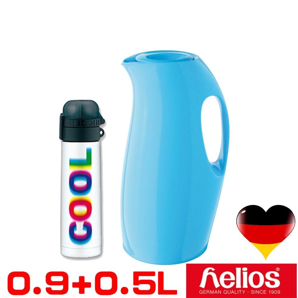 【德國 helios 海利歐斯 】炫彩曲線造型保溫壺水瓶藍900cc+酷COOL不鏽鋼保溫瓶-白500CC