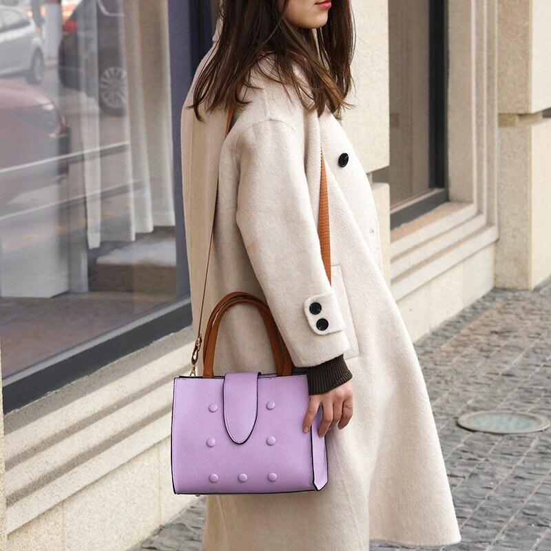 女士包包2021新款潮時尚復古包圓扣時尚簡約手提包單肩包女士包袋