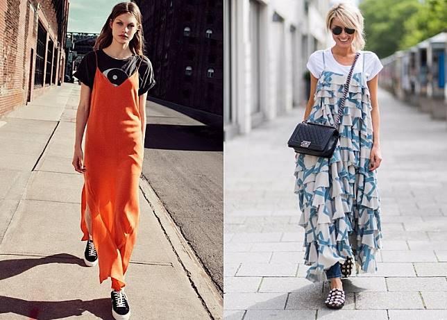 穿搭方法1:吊帶裙  + Tee:簡單以一件白Tee打底就能淡化吊帶裙的華麗感,更有減齡作用,變成有層次又隨性的日常裝扮。(互聯網)