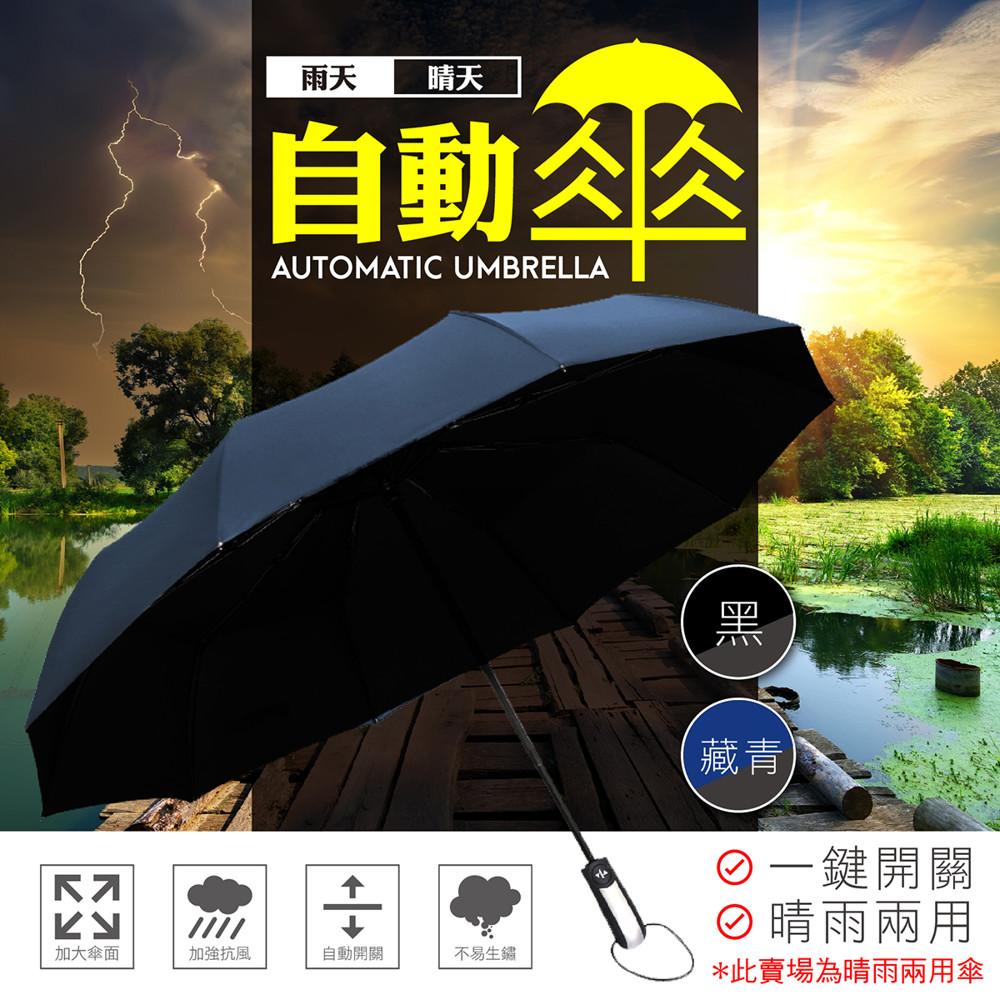 【抗黑防曬傘!完美組隔99%紫外線×UV50+黑膠層!】加強十骨更堅固-自動摺疊雨傘