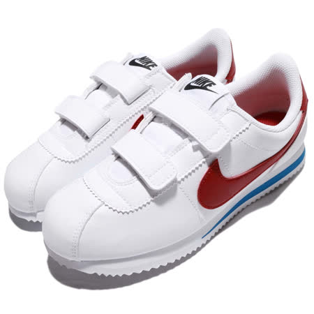 品牌: NIKE型號: 904767-103品名: CORTEZ BASIC SL (PSV)特點: 阿甘鞋 休閒鞋 魔鬼氈 皮革 運動 白紅