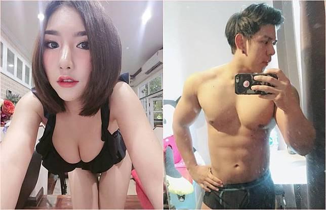 泰國25歲正妹網紅Lalabel(左)傳出過世消息,友人指出當晚送她回家的就是大肌男模Rachadech(右),對方甚至發現她口吐白沫還見死不救。(圖/翻攝自臉書)