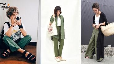 誰說夏天不能穿深色?帶點調皮的卡其綠色絕對是夏日穿搭的好幫手,跟著日本妹子學學吧〜