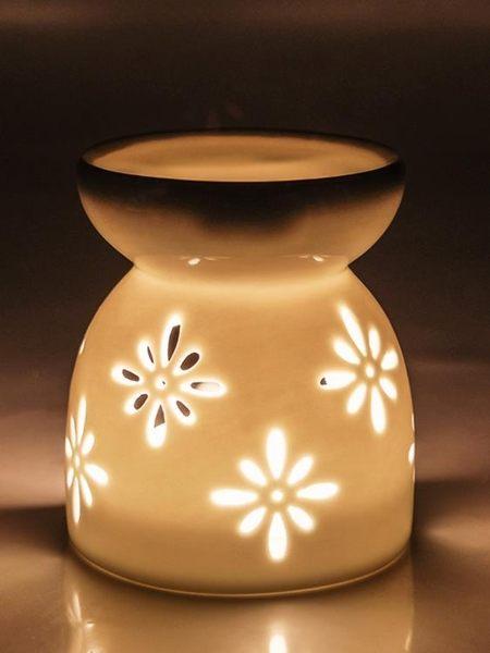 香薰燈精油燈臥室蠟燭家用創意精油香熏靜音陶瓷熏香爐加濕香薰爐 深藏blue