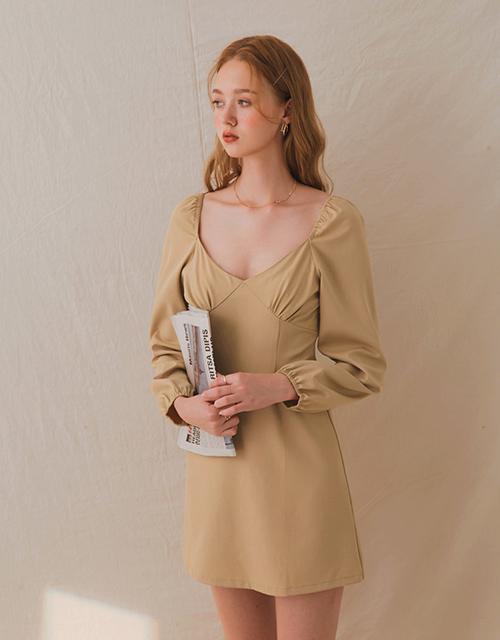 法式復古領修身短洋裝