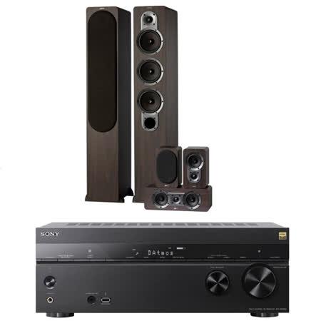 【SONY 索尼】STR-DN1080+Jamo S428 木色(7.2聲道AV擴大機+五聲道喇叭組)