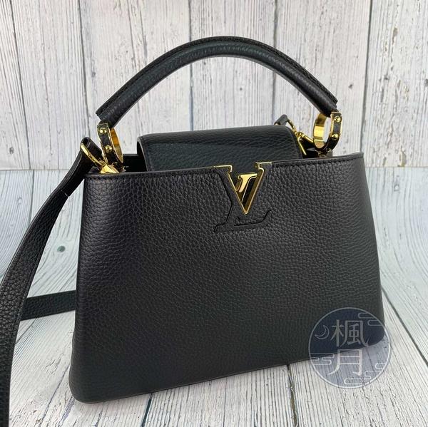 BRAND楓月 LOUIS VUITTON LV M94755 黑色 皮革 CAPUCINES BB 金釦 手提包