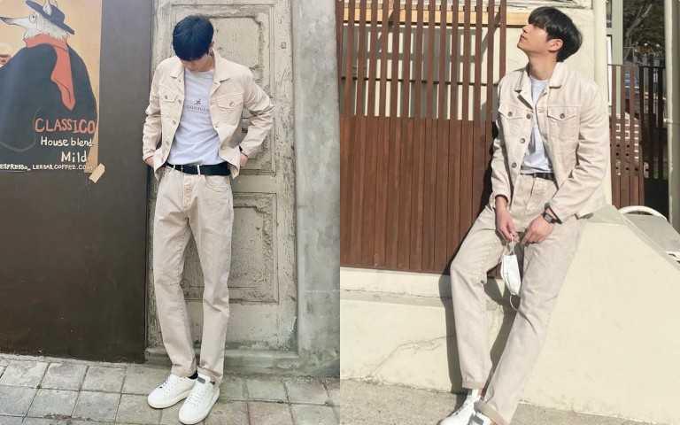 金永大私底下喜愛Brunello Cucinelli男裝低調優雅的風格,日前以Brunello Cucinelli 淺色調的卡其色外套與長褲搭配簡約清爽的白T-shirt,營造出寧靜閒適的夏日氛圍(圖/IG)