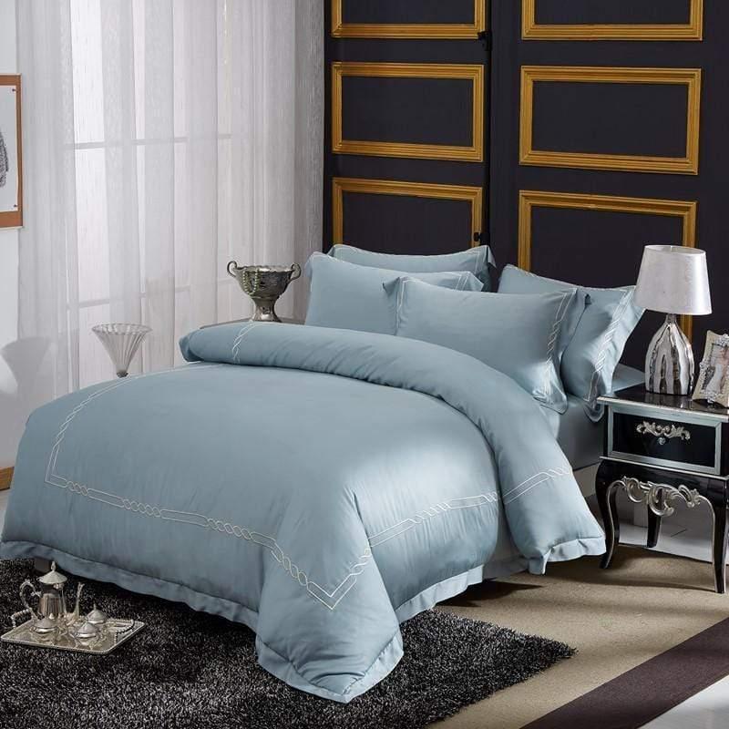 簡奢刺繡床包四件組-特大雙人 湖水綠