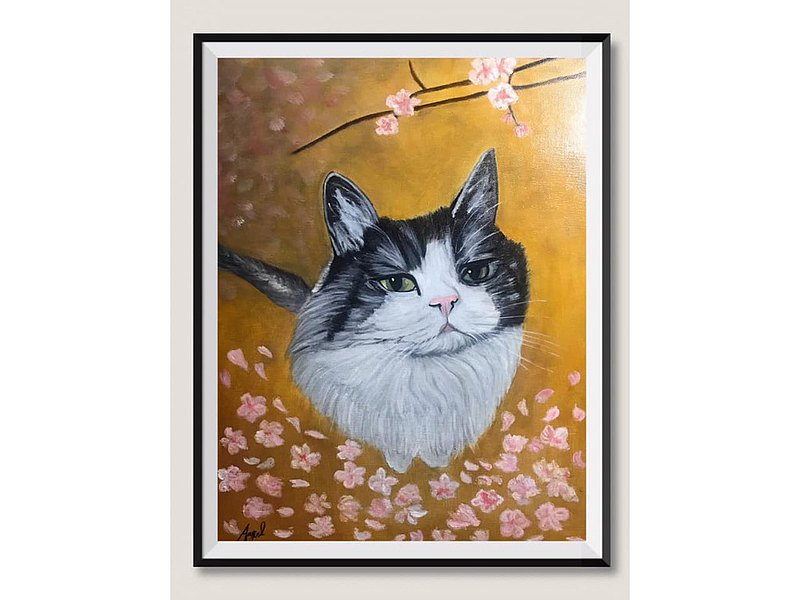 Angel 最新的貓咪油畫 眼神厭世,對於疫情影響旅遊非常的不耐煩 何時可以出國看櫻花 所以畫了在櫻花樹下的倩影聊表對出遊的嚮往啊~