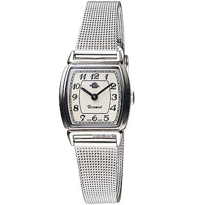 原廠公司貨、典雅酒桶型時尚造型錶背細膩玫瑰Logo雕花不鏽鋼錶殼、米蘭錶帶TNS005-SWR-MT4