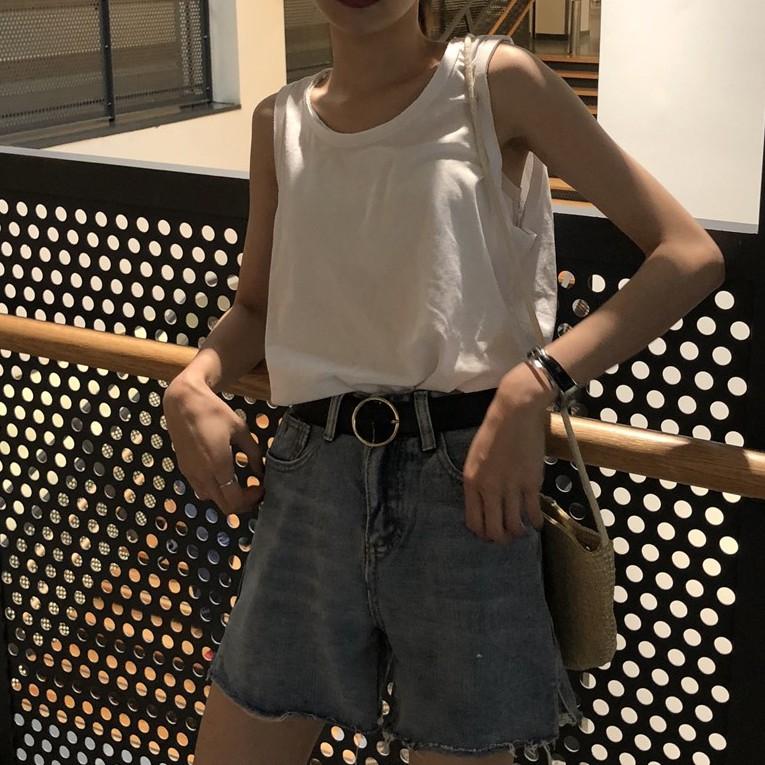 短袖 短袖T恤 短袖上衣 無袖背心 寬鬆上衣 女生上衣 夏新款韓版學生chic寬松bf風百搭運動無袖工裝背心女外穿上衣