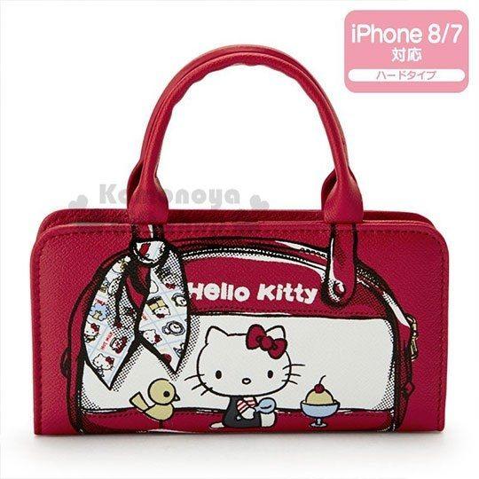 〔小禮堂〕Hello Kitty Action iPhone 7/8 造型皮質掀蓋式手機殼《紅》70 s復古手稿系列 4901610-13605