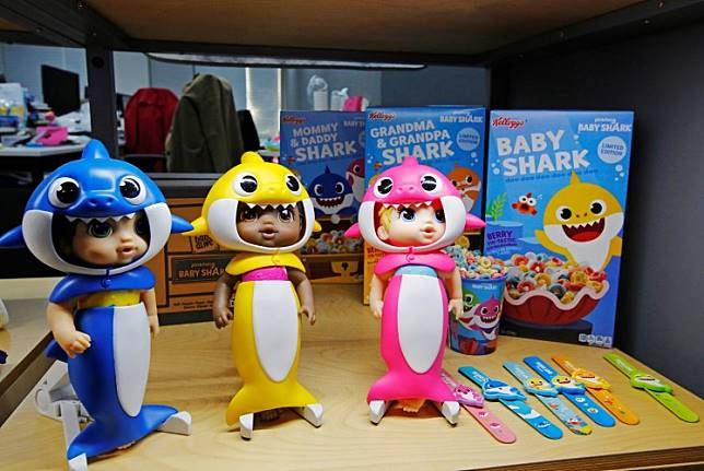 Baby Shark characters are seen on display at the company's office in Seoul, South Korea, on November 12, 2019.