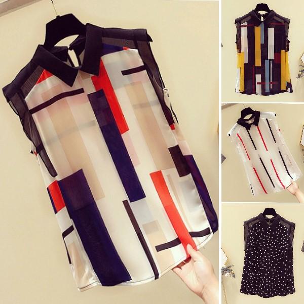 M-2XL韓版幾何圖形遮肚顯瘦雪紡上衣撞色襯衫(5色)-優美依戀
