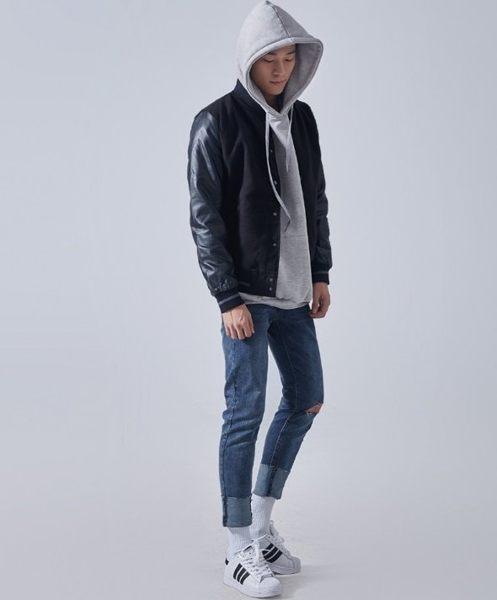 FINDSENSE品牌 供應 皮革 高檔 棒球 夾克 歐美 暗黑 皮革 重磅 外
