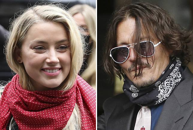 A combination of pictures shows US actress Amber Heard (left) and her former husband US actor Johnny Depp (right) arriving on the second day of Depp's libel action against News Group Newspapers (NGN), at the High Court in London, on July 8, 2020.