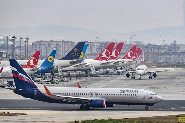 A Russian Airlines Aeroflot plane is pictured on the tarmac of the Ataturk Airport on April 4, 2019, in Istanbul.