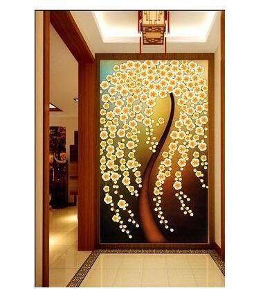 過道走廊玄關墻紙3D立體電視背景墻花卉壁紙客廳墻貼郁金香壁畫布