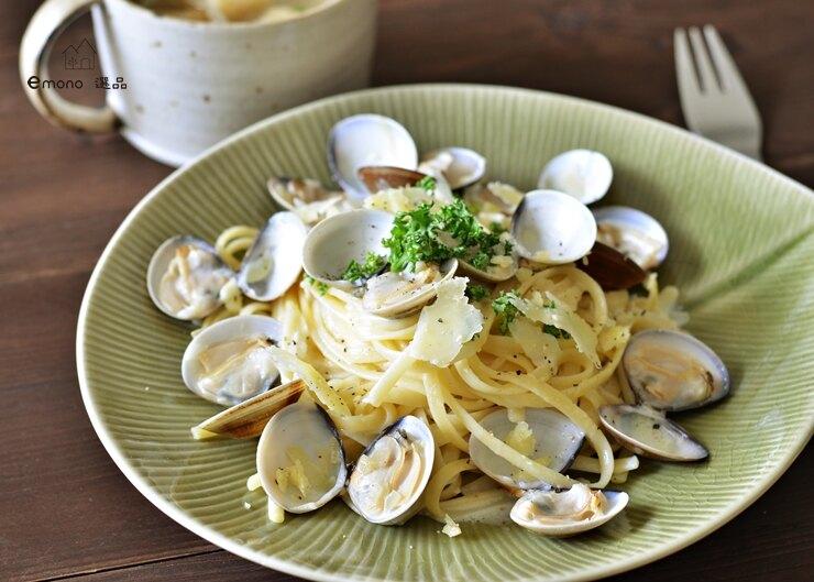 日本美濃燒 Leaf 大盤 義大利麵盤 餐盤 橄欖綠 24cm 陶器 現貨