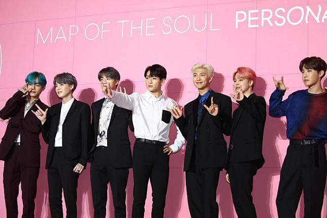 BTS during the press conference for their sixth EP 'Map of the Soul: Persona' in Seoul in April 2019.