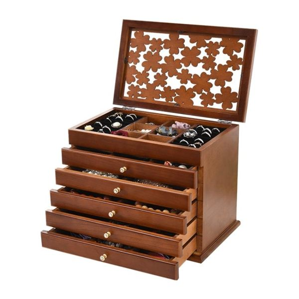 首飾盒女木質化妝盒首飾收納盒飾品盒手飾耳環收納盒公主歐式
