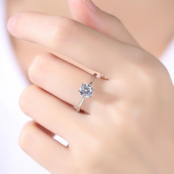 925純銀1克拉鑽戒仿真鑽石戒指女一對結婚求婚情侶對戒男婚戒