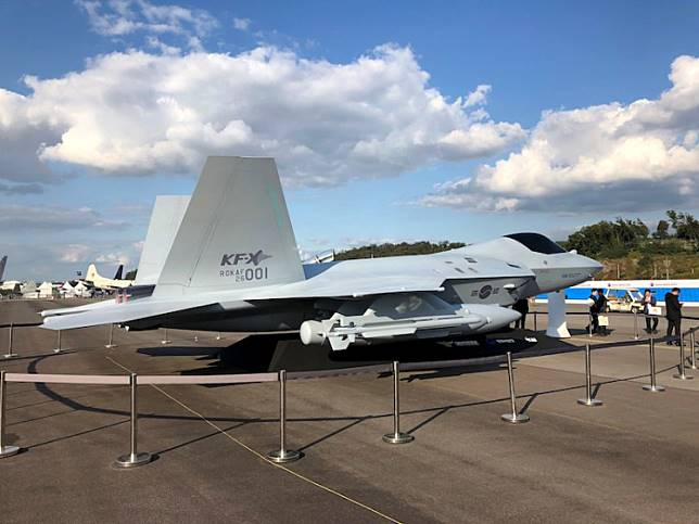 A full-scale mockup of South Korea's KF-X fighter jet is displayed at the Seoul International Aerospace and Defense Exhibition in Seongnam, South Korea, October 15, 2019.