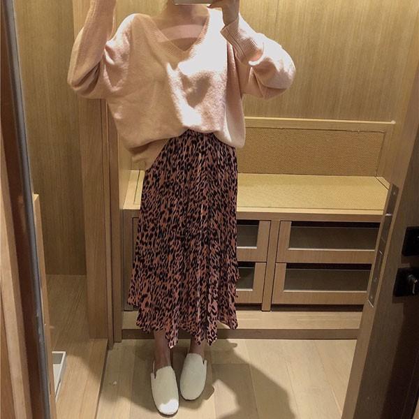 NXS 豹紋 百折裙 長裙 A字裙 百褶裙 百摺裙 傘擺裙 裙子 洋裝 顯瘦
