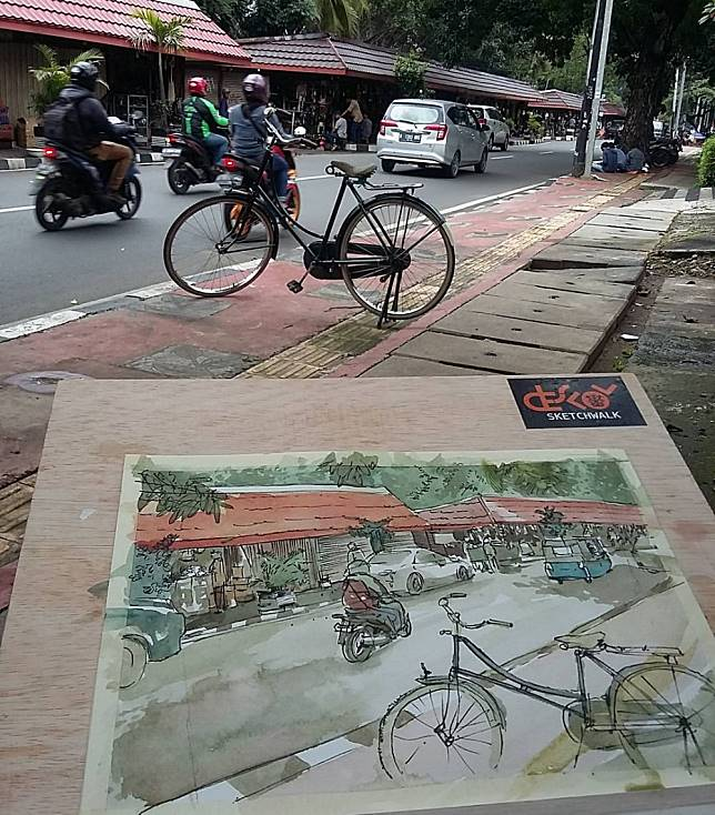 Yuk Menelisik Potret Kota Jakarta Lewat Sketsa Indah Buatan Seniman