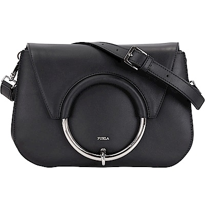 FURLA Margherita 金屬環系列牛皮肩背包(黑色)