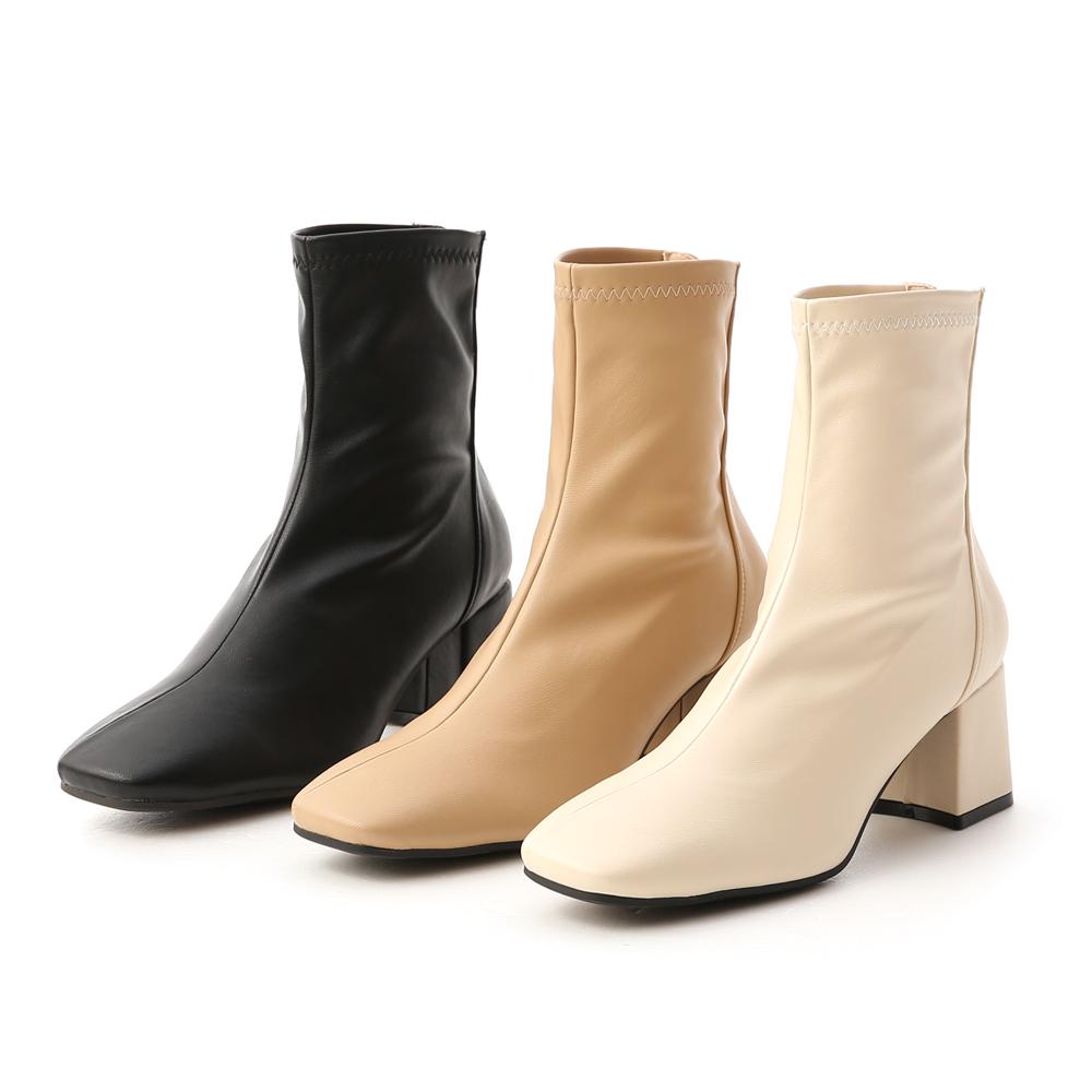 D+AF素面斜線方頭高跟襪靴 襪靴