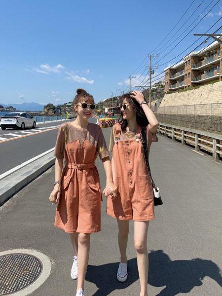 閨蜜裝 連身裙夏季流行女裝韓版假兩件T恤裙背帶短褲套裝閨蜜裝 【愛丫愛丫】