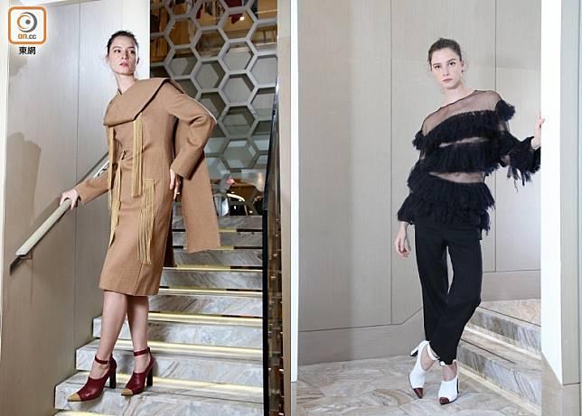 左:Ports 1961駱駝色流蘇連身裙 未定價、啡色Ankle Strap高踭鞋/右:Ports 1961黑色透視及流蘇間條上衣、黑色針織長褲、白色Ankle Strap高踭鞋(張錦昌攝)