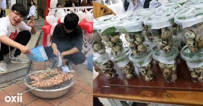 Trời se lạnh, sinh viên mang cút lộn, thịt nướng đến trường như họp chợ Tết