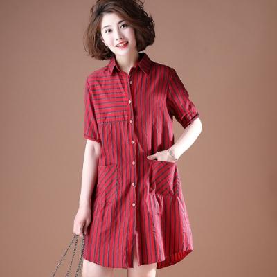 單排釦雙口袋設計條紋襯衫洋裝L-5XL(共三色)KVOLL