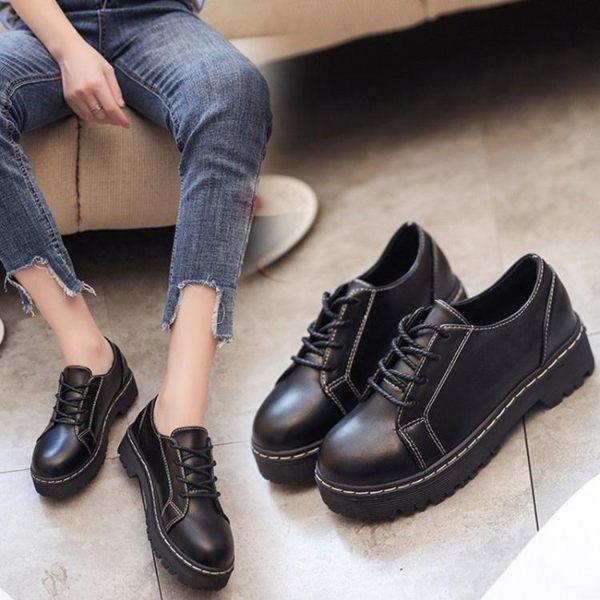 英倫風復古學生單鞋新款女鞋休閒百搭原宿黑色小皮鞋潮 麥琪精品屋