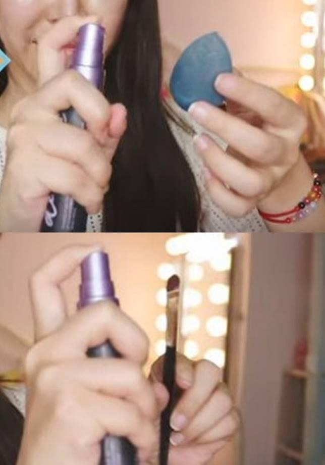 除了將定妝噴霧噴濕美妝蛋使用,可持久定妝外;噴在化妝掃上再沾取眼影使用,也能讓眼影更顯色。(互聯網)