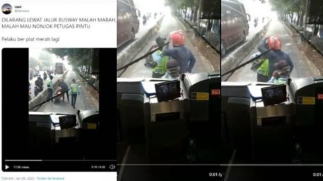 Viral pengendara motor plat merah marah-marah masuk jalur busway (twitter @xeroxca)