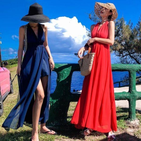 長裙波西米亞8013#(模特實拍)沙灘裙子超仙女夏裝2018新款海邊度假性感露背吊(NE434)皇潮天下