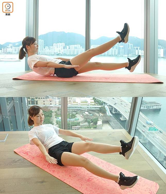 想提升難度的話,可以將雙手提起,只要臀部作支撐點,維持雙腿45度角上下踢腿。(胡振文攝)