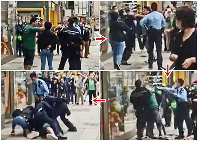 男子與警員爭執後終被制服。