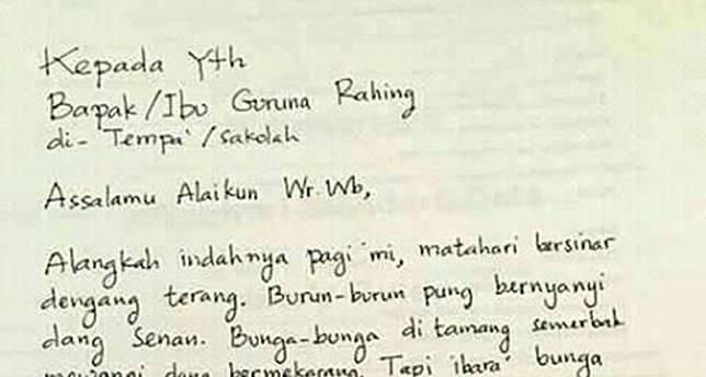 Surat Izin Sakit Dari Orang Tua Murid Untuk Guru Ini Puitis