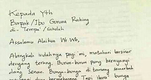 Surat Izin Sakit Dari Orang Tua Murid Untuk Guru Ini Puitis Banget
