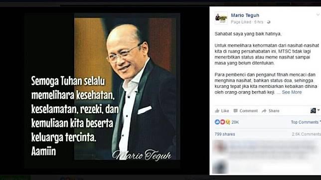 Admin Akun Instagram Mario Teguh Menyemprot Netizen yang Berkomentar