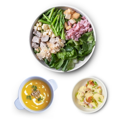 Cordon Bleu Salad - L + Potato Salad + Pumpkin Soup ลดพิเศษ!