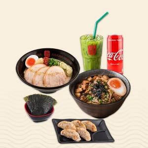 ลด 10%! เมื่อสั่ง Set DUO : ราเมง + ข้าวหน้าหมูชาชู + ชาเขียวเย็น + เกี๊ยวซ่า + สาหร่าย + โค้ก