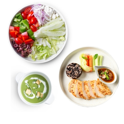 Larb Chicken Steak + Greek Salad - S + Broccoli & Spinach Soup ลดพิเศษ!