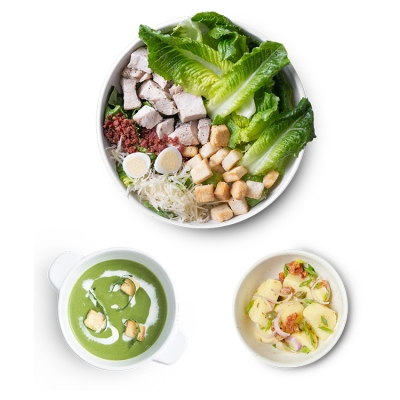 Grilled Chicken Caesar Salad- L + Potato Salad + Broccoli & Spinach Soup ลดพิเศษ!